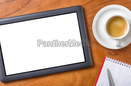 tablet with text free space on