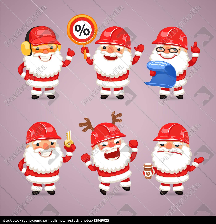 Lizenzfreies Bild 13969025 Reihe Von Comic Weihnachtsmann Builders
