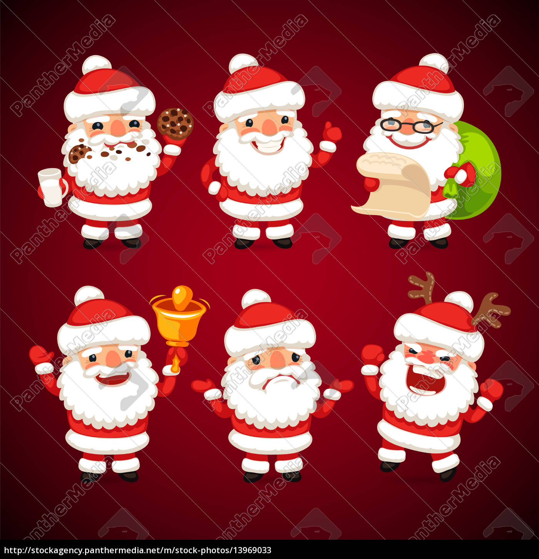Lizenzfreies Bild 13969033 Reihe Von Comic Weihnachtsmann In Verschiedenen Posen