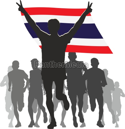 winner with the thailand flag at