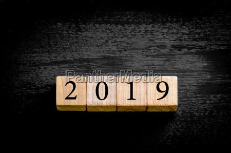 year 2019 isolated on black background