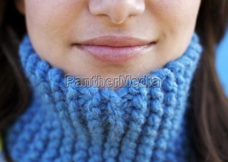close up schuss eines laechelnden lippen