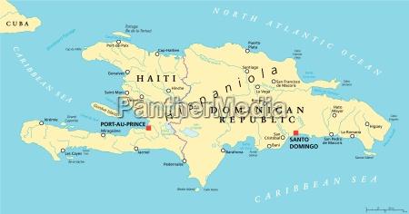 hispaniola political map with haiti and