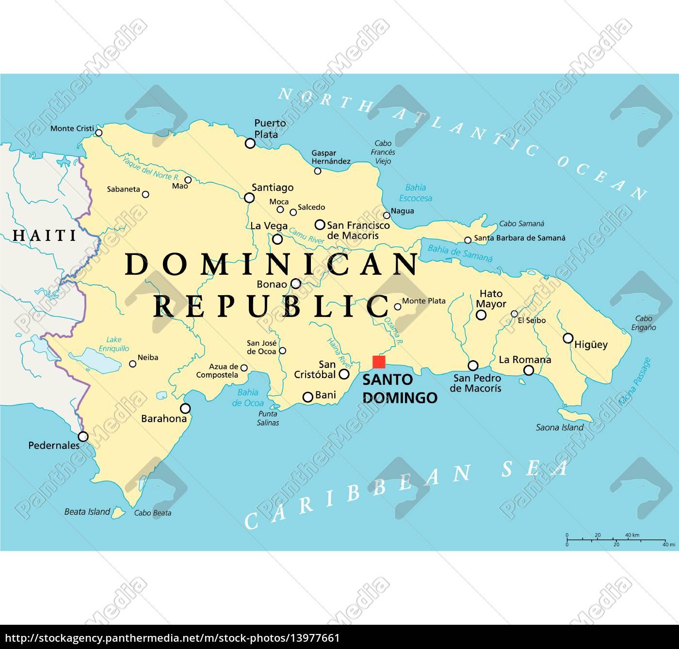 Dominikanische Republik Politische Karte Lizenzfreies Bild