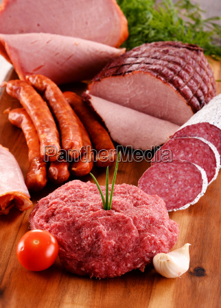 assorted meat products including ham and