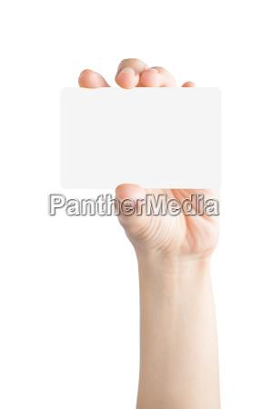 weibliche hand halten leere karte