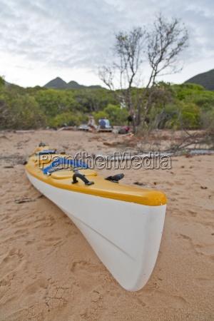 a sea kayak on the beach