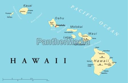 hawaii inseln politische karte
