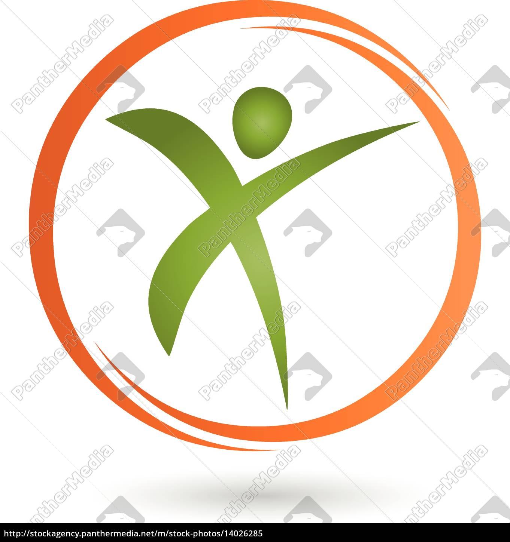 Ein Person Logo Fitness Physiotherapie Lizenzfreies Bild