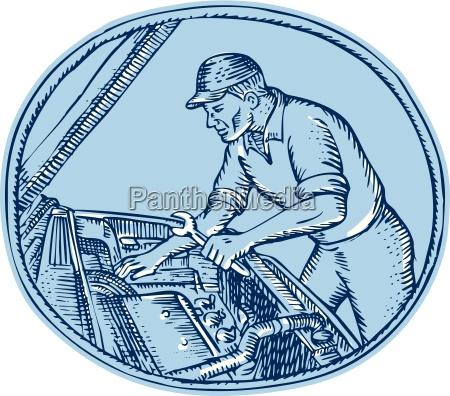 auto mechanischer autobauer repariert radierung