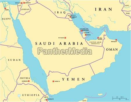 arabische halbinsel political map
