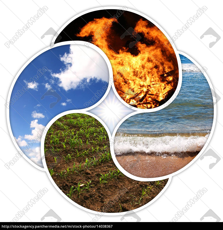 Vier Elemente Feuer Wasser Erde Luft Lizenzfreies Bild
