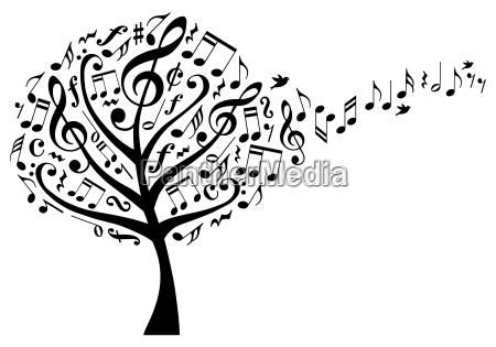 musik baum mit noten