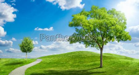 idyllische landschaft mit wolkenhimmel