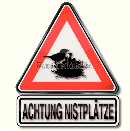 sign with caution nesting places