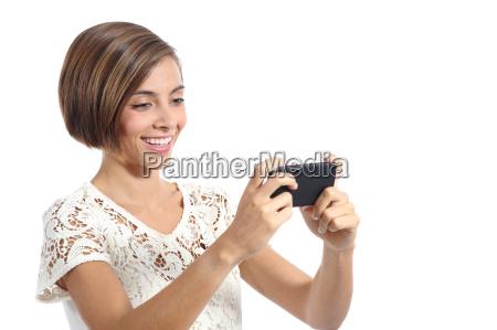modern fashion woman watching video in