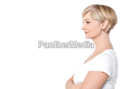 side pose of confident woman