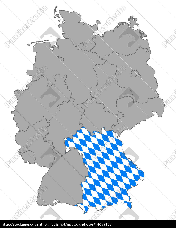 Karte Von Deutschland Mit Fahne Von Bayern Lizenzfreies Bild