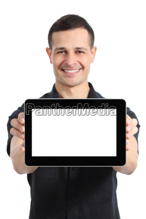happy man smiling showing a blank