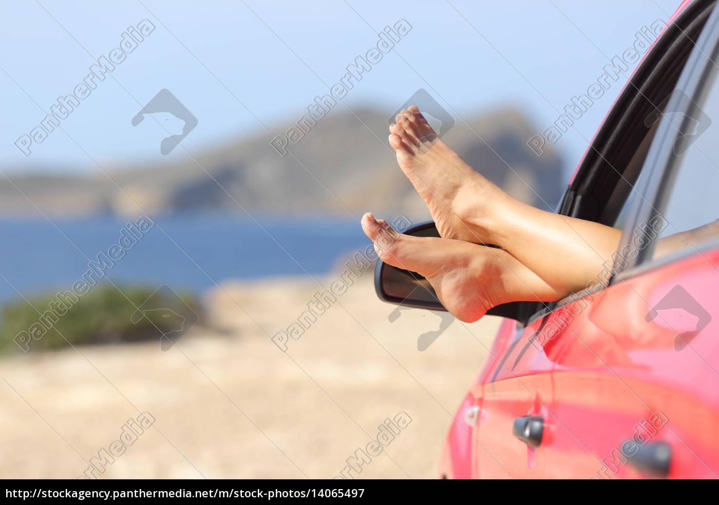 frau, füße, entspannen, in, einem, auto - 14065497