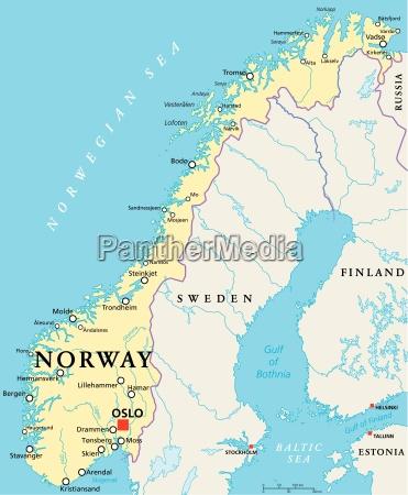 norwegen political map