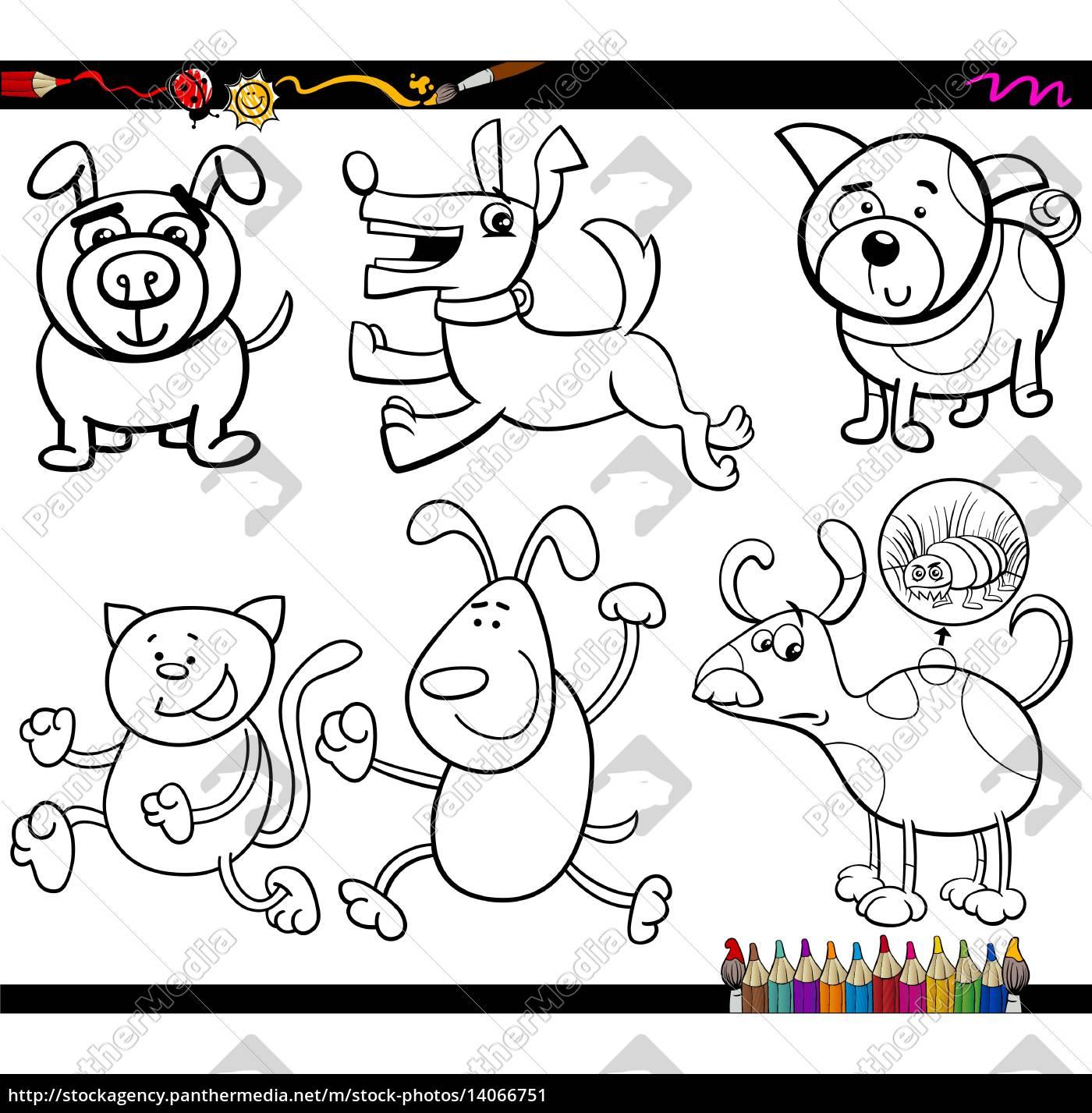 dogs set cartoon malvorlagen  stockfoto  14066751