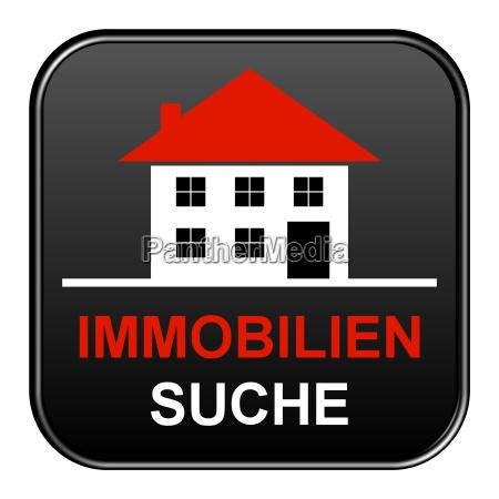 schwarzer freigestellter button immobiliensuche