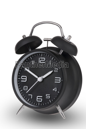 black alarm clock with the hands