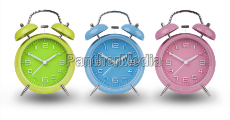 three alarm clocks with the hands