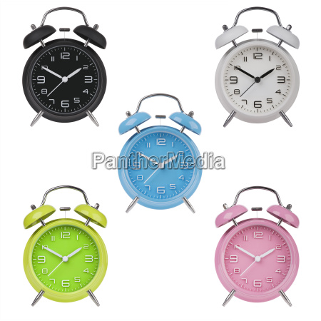 five alarm clocks with the hands