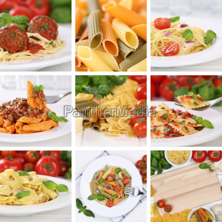 collage of ingredients for a spaghetti