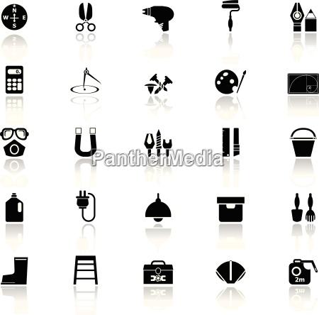 diy werkzeug icons mit reflektieren auf