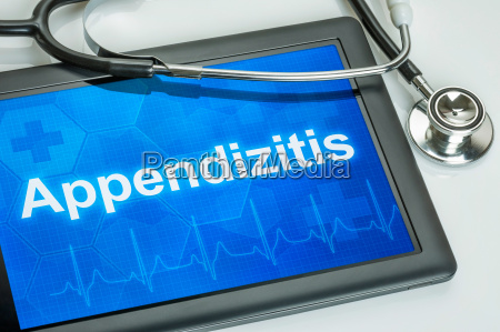 tablet with the diagnosis appendicitis on