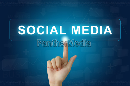 hand press on social media button