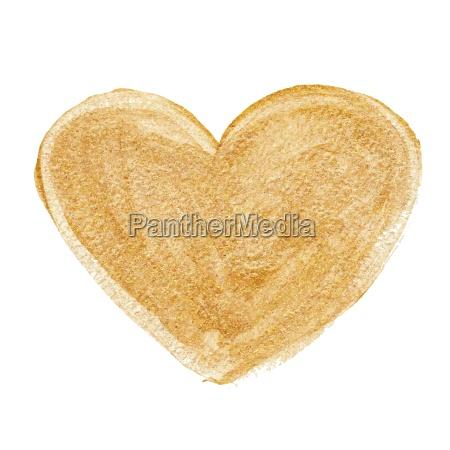 gold acrylic heart hand drawn