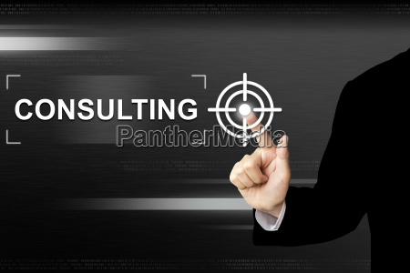 business hand pushing consulting button on