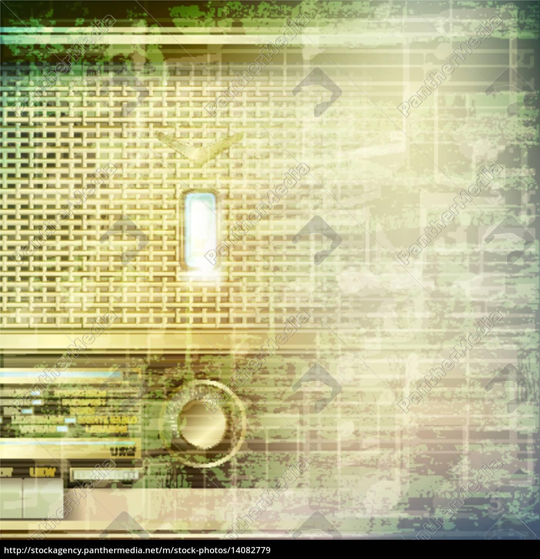 abstrakt, grunge-musik-hintergrund, mit, retro-radio - 14082779