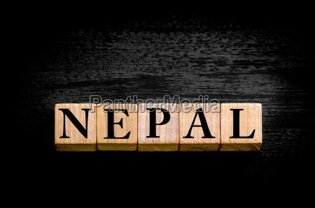word nepal isolated on black background