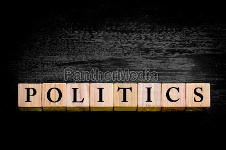 word politics isolated on black background