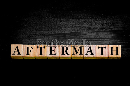 word aftermath isolated on black background