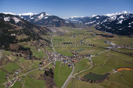 aerial view pinzgau austria