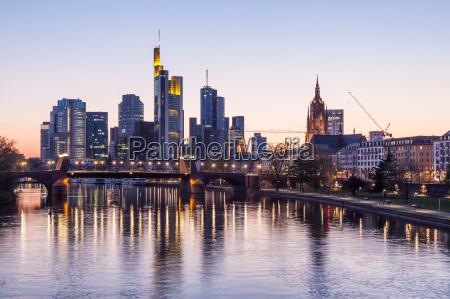 frankfurt downtown skyline illuminated at night