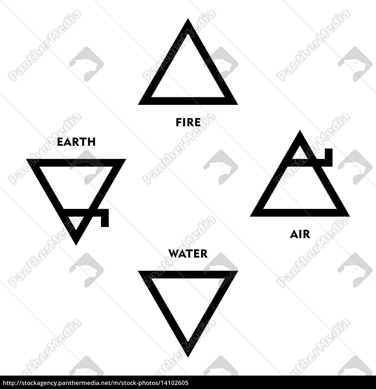 klassische vier elemente symbole der mittelalterlichen ...