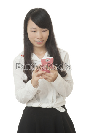 beautiful chinese woman using a smart