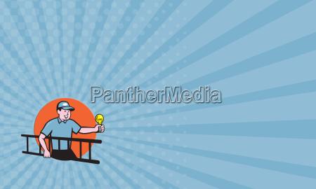 visitenkarte elektriker leiter gluehbirne kreis cartoon