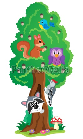 tree with various animals theme 1