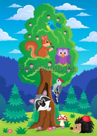 tree with various animals theme 2