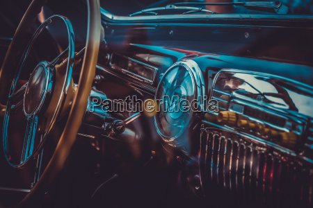 interior of old retro car vintage