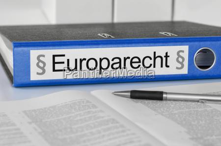file folders labeled european law