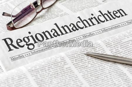 zeitung mit der UEberschrift regionalnachrichten